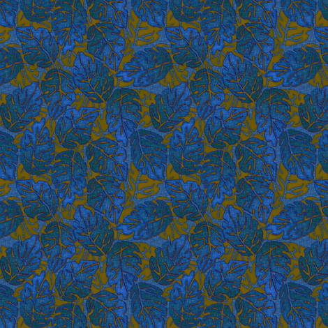 leaves apart parrish blue fabric by glimmericks on Spoonflower - custom fabric