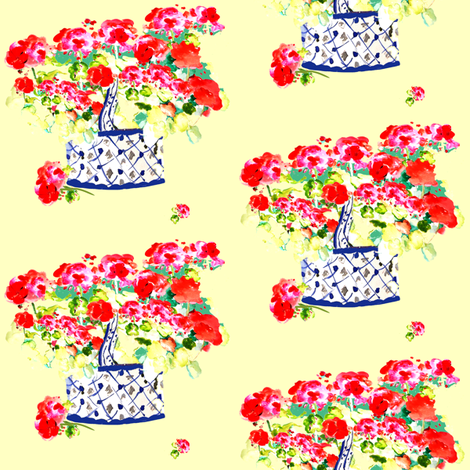 Geraniums Lemon Yellow fabric by karenharveycox on Spoonflower - custom fabric