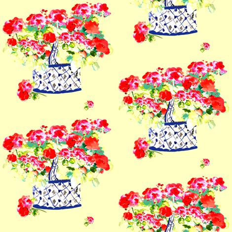 Geraniums Lemon Yellow fabric by karenharveycox on Spoonflower - custom fabric