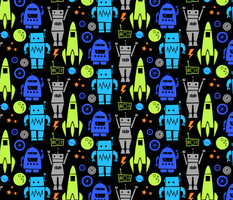 Rockets n' Robots (lime) fabric by leanne on Spoonflower - custom fabric