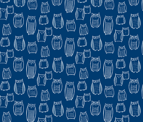 Little Night Owl (navy ground) fabric by leanne on Spoonflower - custom fabric