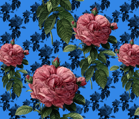 Redoute' Roses ~ Sweet Pink & Blue ~ Large fabric by peacoquettedesigns on Spoonflower - custom fabric