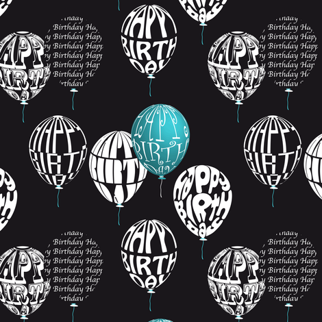 Happy Balloons Black&Blue fabric by vannina on Spoonflower - custom fabric