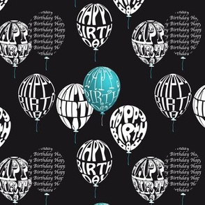 Happy Balloons Black&Blue