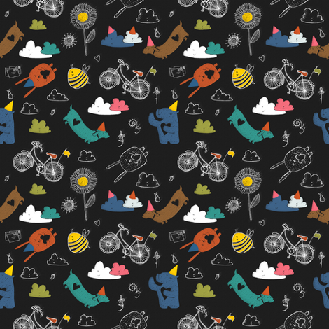 birthday blackboard fabric by laura_the_drawer on Spoonflower - custom fabric