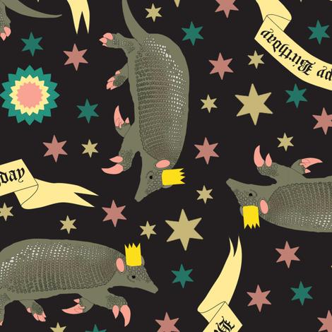 Armadillos Birthday on black fabric by susiprint on Spoonflower - custom fabric