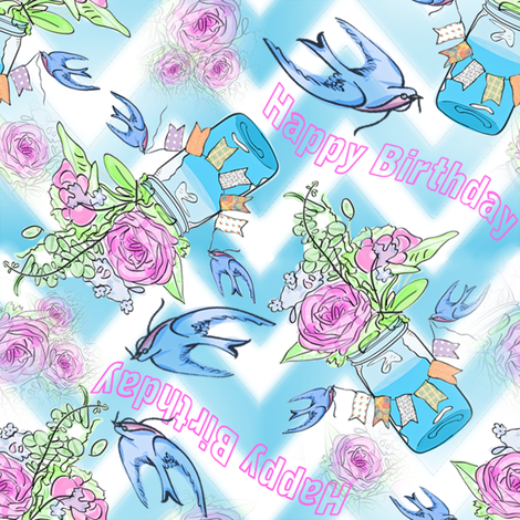 Watercolor Birthday fabric by shannonkornis on Spoonflower - custom fabric