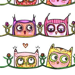 Peek-a-Boo Pink Owls