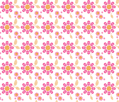 Geek Chapeau ALIEN FLORAL PINK fabric by gitchyville_stitches on Spoonflower - custom fabric