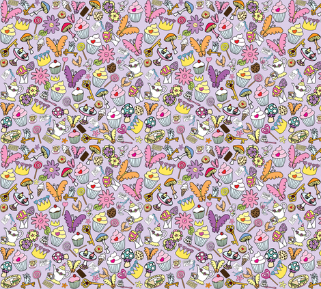 Purple fluttercakes fabric by gazeofdolls on Spoonflower - custom fabric