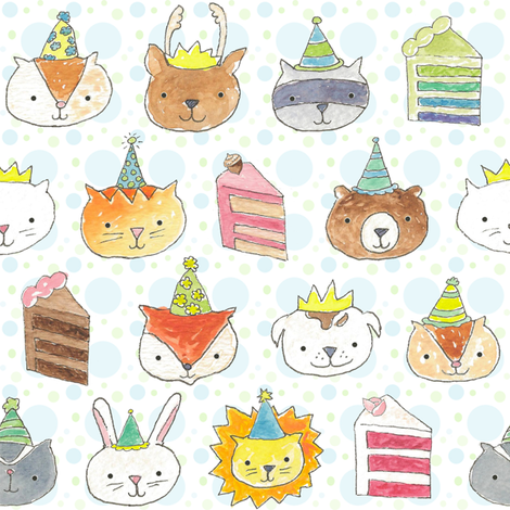 Birthday Party Pets! fabric by pattyryboltdesigns on Spoonflower - custom fabric