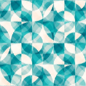 Ikat teal circles