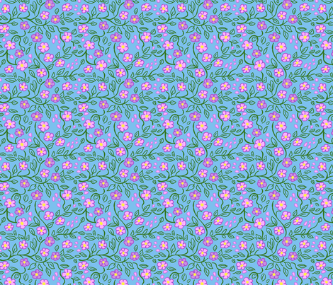 Flower Vine Pink and Blue fabric by vinpauld on Spoonflower - custom fabric