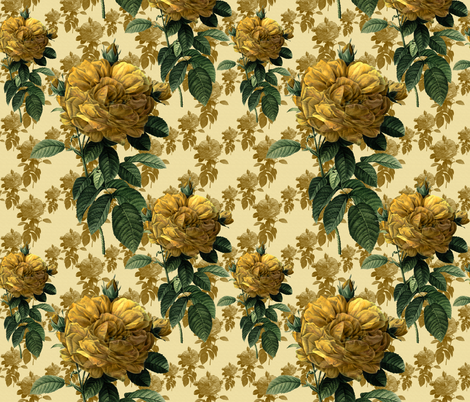 Redoute' Roses ~ Yellow on Cream fabric by peacoquettedesigns on Spoonflower - custom fabric