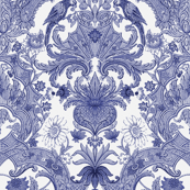Parrot Damask ~ Blue & White