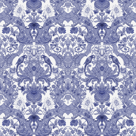 Parrot Damask ~ Blue & White ~ Small fabric by peacoquettedesigns on Spoonflower - custom fabric