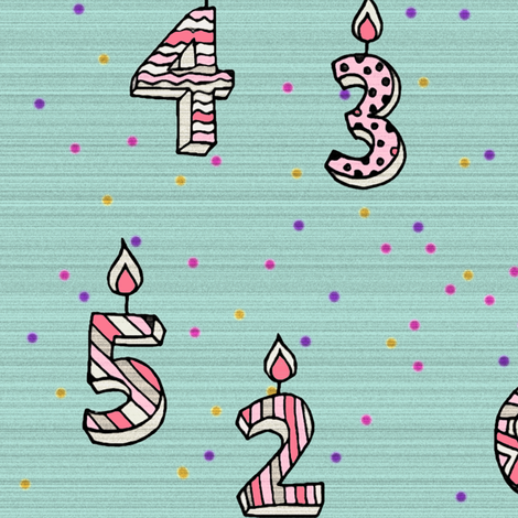 Birthday's candles by number fabric by fantazya on Spoonflower - custom fabric