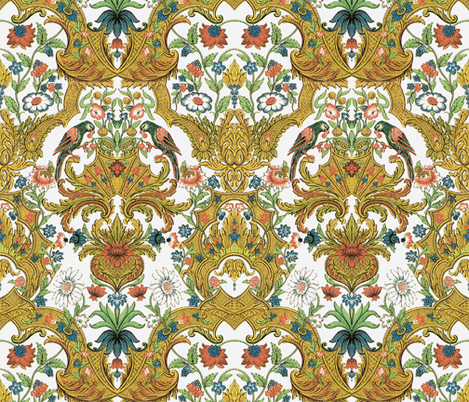 Parrot Damask ~ Bright & Bold fabric by peacoquettedesigns on Spoonflower - custom fabric