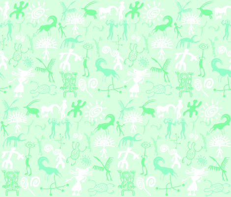 MINT GREEN ROCK ART fabric by bluevelvet on Spoonflower - custom fabric