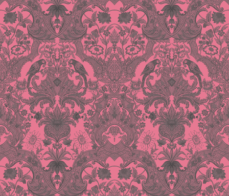 Parrot Damask ~ Pink & Grey fabric by peacoquettedesigns on Spoonflower - custom fabric