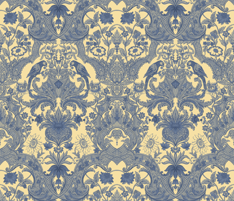 Parrot Damask ~ Provencal fabric by peacoquettedesigns on Spoonflower - custom fabric
