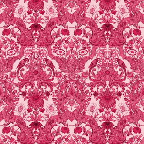 Parrot Damask ~ Cherry Pink fabric by peacoquettedesigns on Spoonflower - custom fabric