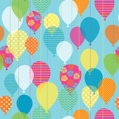Rainbow Balloons fabric by maudie&ma on Spoonflower - custom fabric
