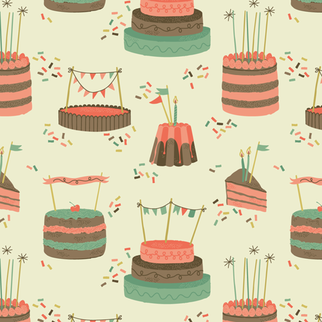 Birthday Party - Cakes fabric by pop-printonpaper on Spoonflower - custom fabric