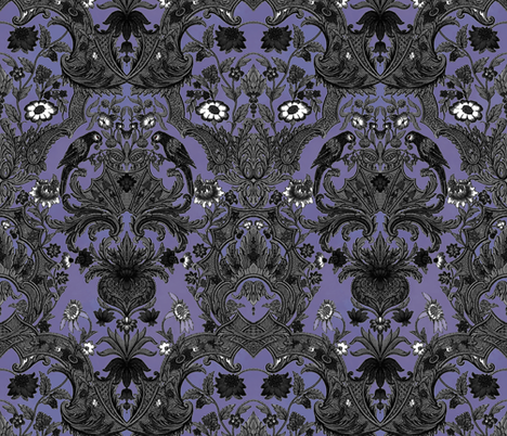 This Is Halloween! Haunted  House Damask ~ Large fabric by peacoquettedesigns on Spoonflower - custom fabric