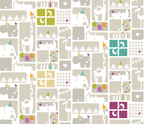 Party Animals - Large Scale fabric by ttoz on Spoonflower - custom fabric