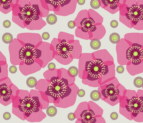 Pink poppies fabric by heleenvanbuul on Spoonflower - custom fabric