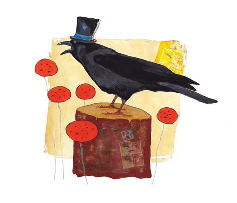 The black crow fabric by els_vlieger_illustrations on Spoonflower - custom fabric