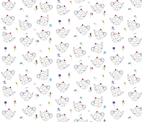 Teapot Flowers fabric by de-ann_black on Spoonflower - custom fabric