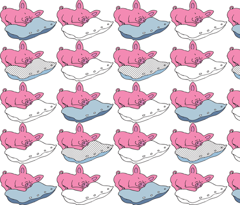 Sleeping little piglets fabric by els_vlieger_illustrations on Spoonflower - custom fabric