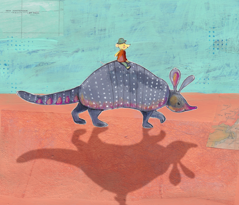 The Armadillo Ride fabric by els_vlieger_illustrations on Spoonflower - custom fabric