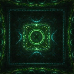 Square Fractal - Green and Teal