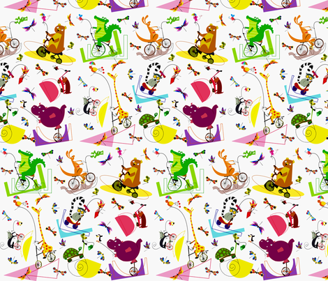 Biking animals fabric by inkalily_fabrics on Spoonflower - custom fabric