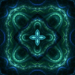 Square Fractal 2 - Green and Blue