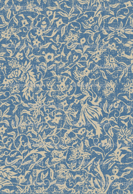 Bird of Paradise - blue and beige linen damask