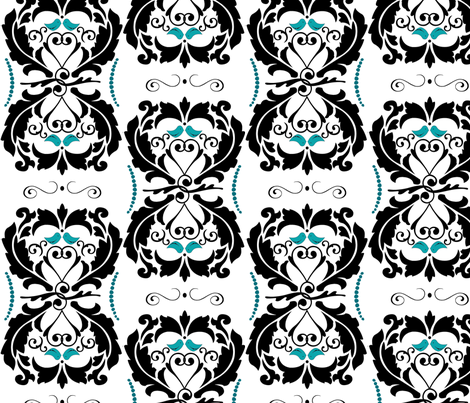 Tiffany Blue Lovebirds Heart Damask fabric by artsycanvasgirl on Spoonflower - custom fabric