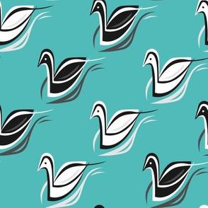 Swans in Aqua