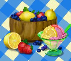 Summer Ice Cream on Table Cloth