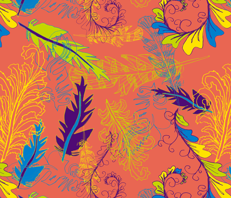 Amber's feathers fabric by twobloom on Spoonflower - custom fabric