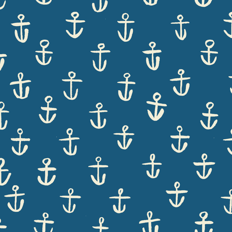 Navy_Anchors fabric by gsonge on Spoonflower - custom fabric