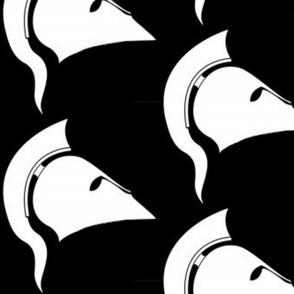 athena's helmet black & white