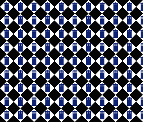 Harlequin Police Box black 1 fabric by morrigoon on Spoonflower - custom fabric