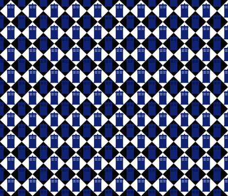 Harlequin Police Box black 2 fabric by morrigoon on Spoonflower - custom fabric