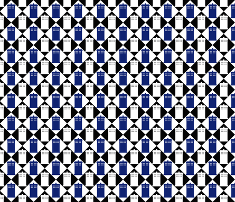 Harlequin Police Box black 3 fabric by morrigoon on Spoonflower - custom fabric