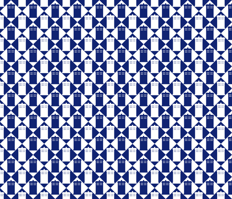 Harlequin Police Box blue and white - Large fabric by morrigoon on Spoonflower - custom fabric