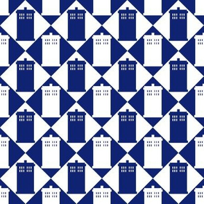 Harlequin Police Box blue and white - Large